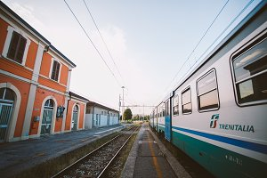 Stop the train station verolanuova regional train in Italy.
