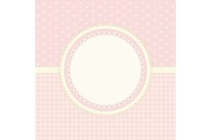 Primitive retro frame with lace and ribbon on polka dots and gingham background