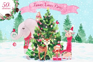 Christmas animals graphic set