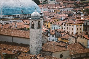 view of the European old town of Brescia in Italy pawnshop in summer