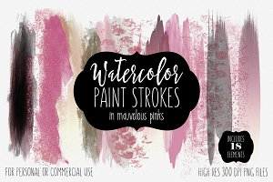 Mauvelous Pink Watercolor Strokes