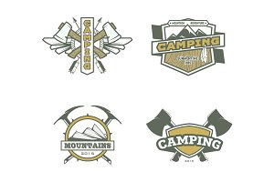 Vector camping labels.