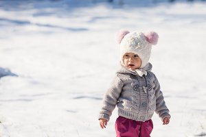 Winter walking of baby