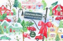 Watercolor Christmas Street