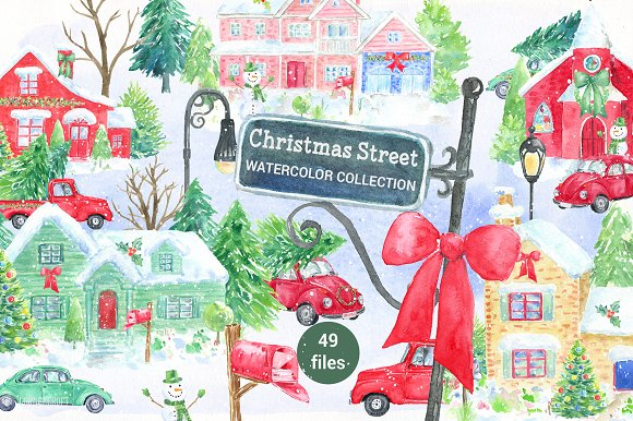 Watercolor Christmas Street-Graphicriver中文最全的素材分享平台