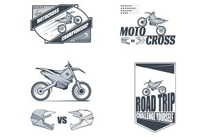Vector motocross labels.