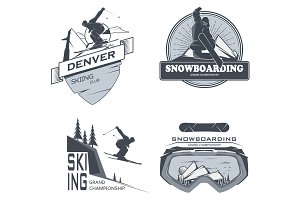Vector snowboarding,skiing labels.