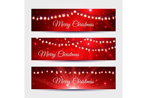 Christmas light garlands banners set