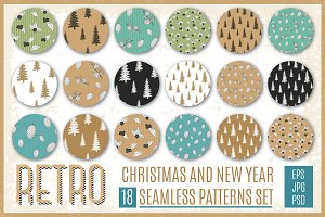 Retro Christmas Patterns Set