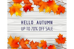 Autumn sale poster background with leaves