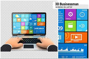 3D Businessman Working on Laptop
