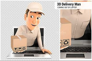 3D Delivery Man Coming Out of Laptop