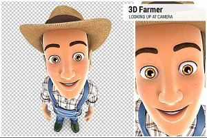 3D Farmer Standing and Looking Up