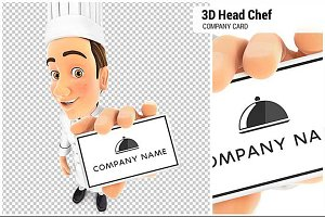 3D Head Chef Holding Company Card
