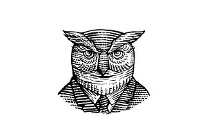 Hipster Owl Suit Woodcut