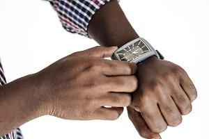 Man wearing a wrist watch mockup
