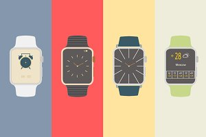 Vector flat smart watches icons.