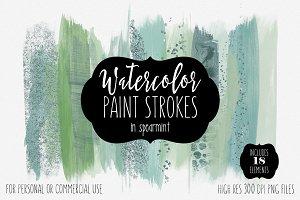 Watercolor Paint Strokes Spearmint
