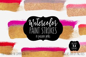 Gold & Pink Watercolor Paint Strokes