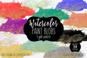 Gold Confetti & Watercolor Paint