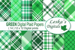 Green Plaid Patterns - Digital Paper