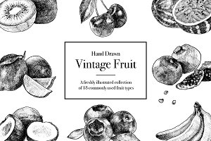 Hand Drawn Vintage Fruit