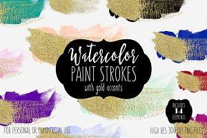 Watercolor & Gold Brush Strokes
