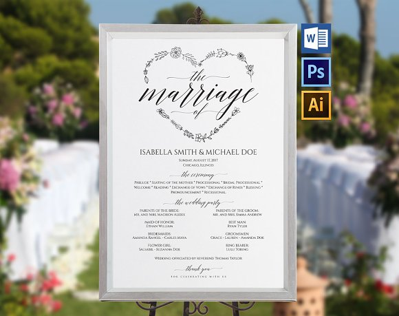Wedding Program Sign Wpc372