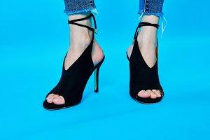 Legs of women wearing high heels