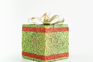 Green gift box used for festive