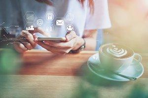 Women using smartphone in technology