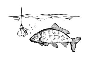 Fishing process engraving vector illustration