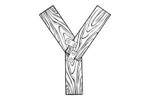 Wooden letter Y engraving vector illustration