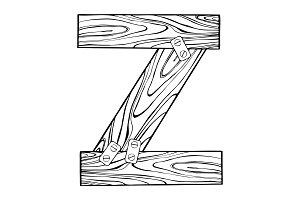 Wooden letter Z engraving vector illustration