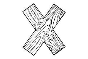 Wooden letter X engraving vector illustration