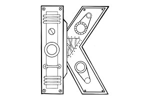 Mechanical letter K engraving vector illustration