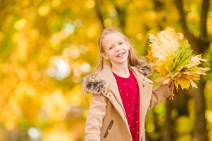 Portrait of adorable little girl in fall