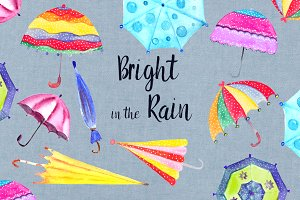 Bright in the Rain Clip Art Set