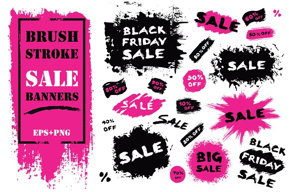Sale Banners From Brush Strokes