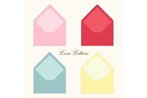 Cute retro envelopes with ornament in shabby chic style