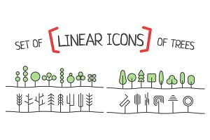 Linear icons of trees.