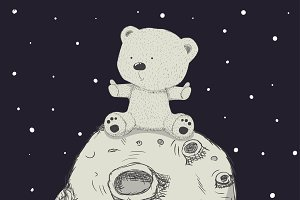 Bears,cub,foal.Space cute drawings.