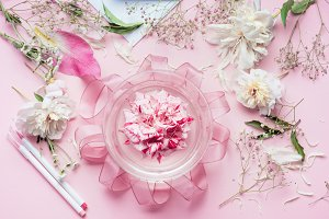 Creative Pink Florist workspace