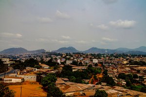 Aerial cityscape view to Yaounde capital of Cameroon