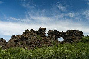Dimmuborgir nature sculpture around Myvatn lake, Iceland