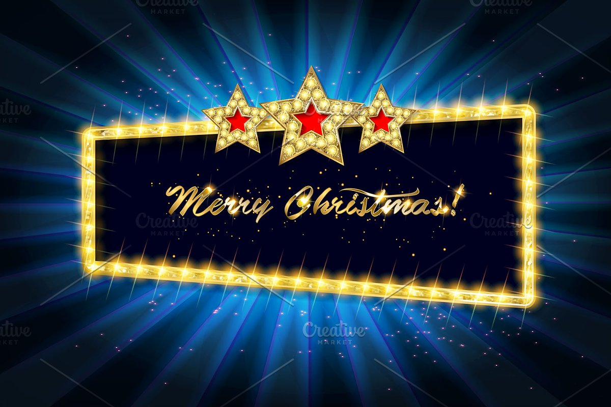 Christmas Banners.2 Christmas Banners With Light Bulbs