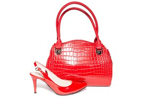 Bag and shoes of red color