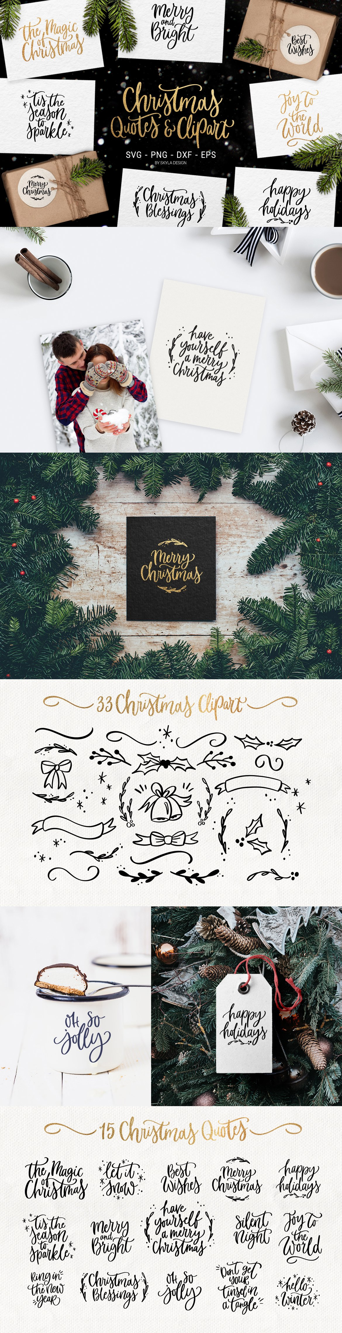 Merry Christmas Svg Quotes Clipart Custom Designed Graphic Objects Creative Market