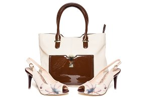 Bag and shoes of beige color