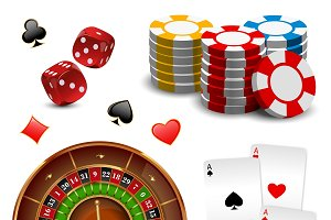 Realistic Casino Games Icon Set